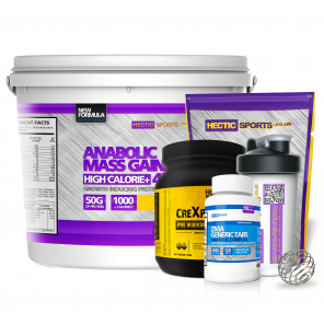 Mass Gainer Bundle - 4kg Anabolic Mass, ZMA, Creatine Monohydrate, Vortex Pre Workout, BCAA, Shaker